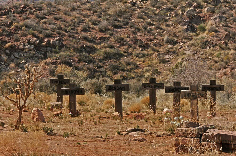"Unknowns, Silver Reef, Utah - The ghost town of Silver Reef has two cemeteries. In its Catholic cemetery, most of the graves are marked ""unknown."""