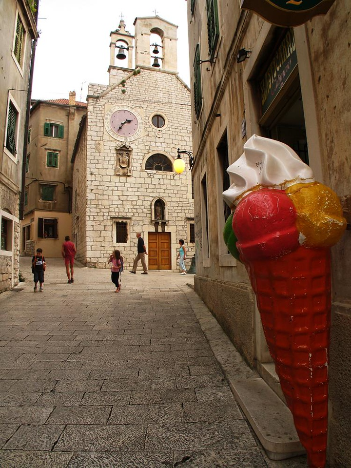 Ice Cream in Sibenik - It's not hard to find the ice cream shop in the heart of old Sibenik.