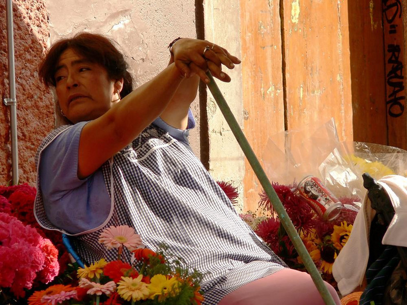 Flower Vendor, Plazuela del Baratillo - I photographed this woman as she ceased her late afternoon cleanup work to take a brief rest. She was listening to the guitar music coming from just across the square.