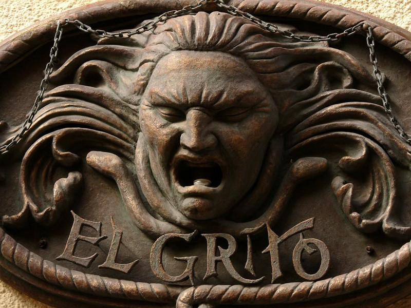 El Grito, San Miguel - The fierce sign on a local shop recalls the revolutionary cry of 1810, when people gathered in the squares of Mexicos towns and shouted Death to the Spaniards. Thus began the Mexican War of Independence, which devastated both San Miguel and Guanajuato.