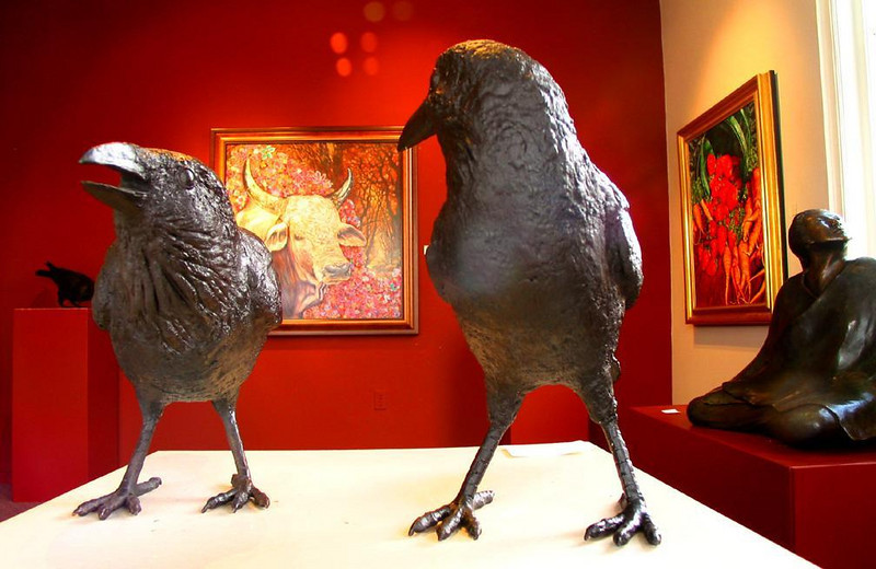 Crow Confrontation - These bronze crows are featured performers in a window of a Santa Fe art gallery.