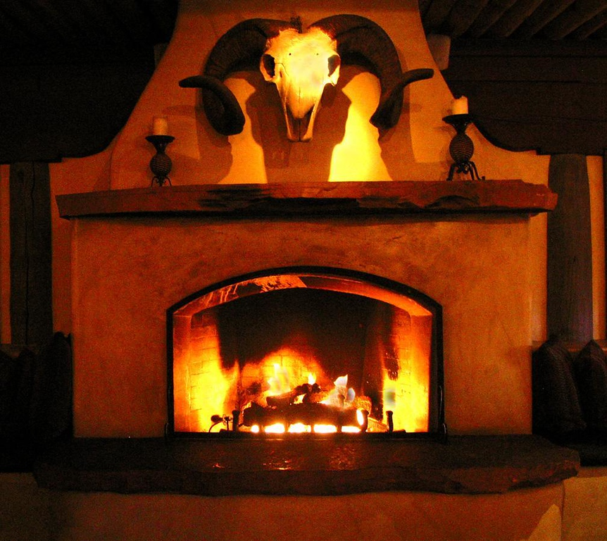 Lobby fireplace, The Inn at Loretto - This fireplace in the lobby of Santa Fe's Inn at Loretto offered a warm photo on a cold and rainy afternoon.