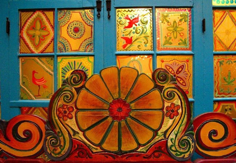 Sideboard, La Fonda - This colorful sideboard graces the restaurant of Santa Fe's La Fonda hotel.