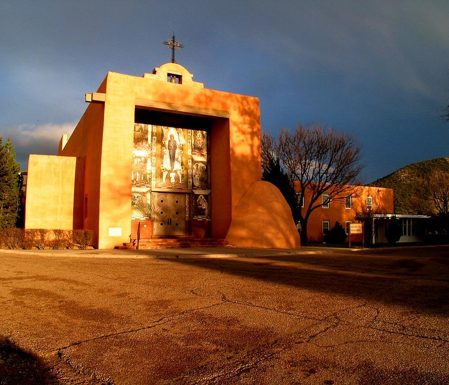 Chapel at sunset, Santa Fe Workshops - The Santa Fe Workshops, one of the world's great centers for photographic training, is located just outside of Santa Fe on the grounds of a religious retreat center. Its photogenic chapel is the site of lectures offered by some of the world's leading photographers.