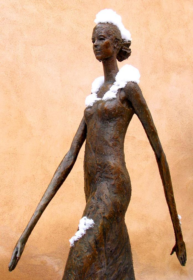 Snow maiden, Canyon Road - I found the pose of this sculpture outside a gallery on Santa Fe's Canyon Road to be frozen in more ways than one.