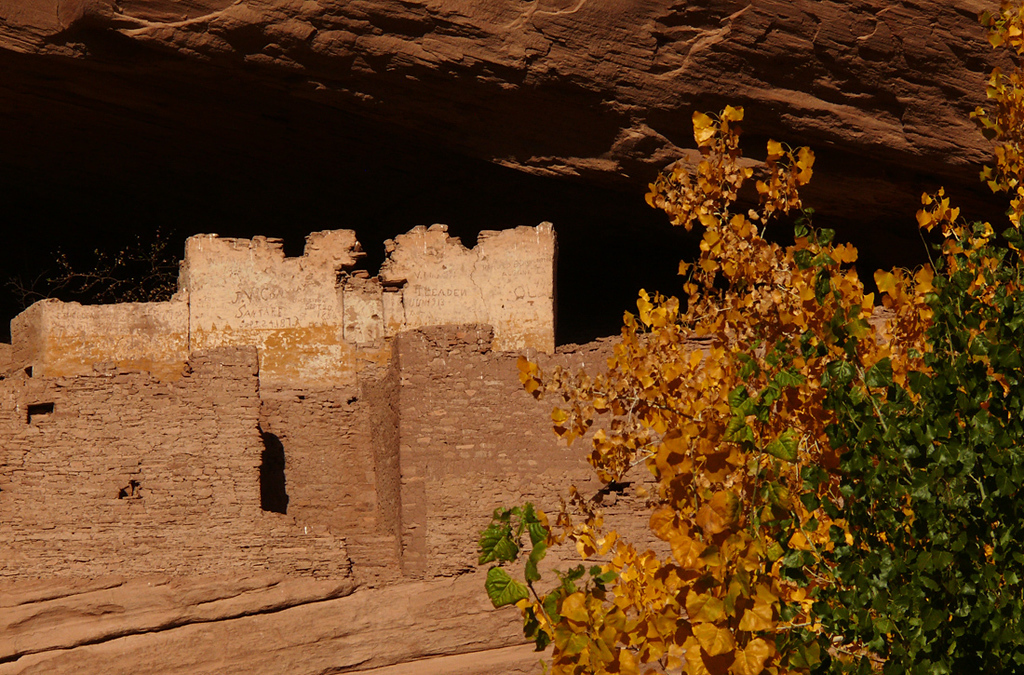 White House Ruin, Canyon de Chelly - This ruin, built by ancient Puebloan people within a cave on the canyon wall, is over 1,000 years old. If you view this image at full size, you can read graffiti left on its white plastered wall, some of it dating back more than 130 years.