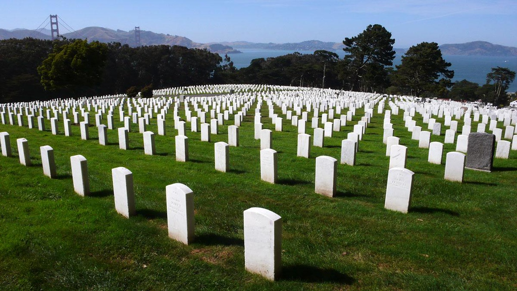 Presidio Cemetery, San Francisco - The first national cemetery on the west coast, the Presidio cemetery dates to 1849. Overlooking the Golden Gate, it contains 30,000 graves.