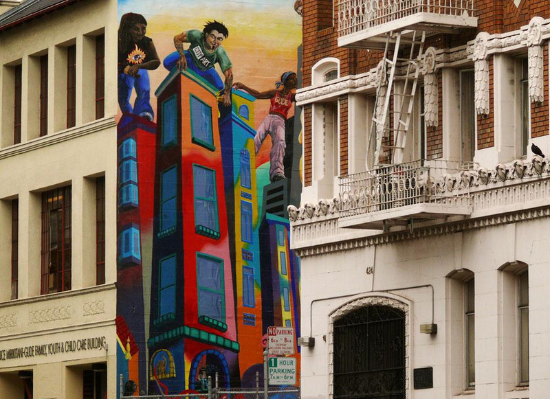 Tenderloin District, San Francisco - Neighborhood artists enliven a wall between buildings with a paniting of another.
