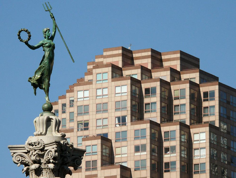 Union Square, San Francisco - The statue, mounted on top of a column, commemorates the victory of the American Navy at the battle of Manila Bay in the Spanish American War. It stands in the middle of Union Square, one of San Francisco's main retail and culture centers -- a spacious meeting spot in the heart of the city.