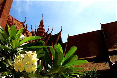 National Museum, Phnomh Penh, Cambodia - I used a wideangle lens, and came in very close to fill the foreground with foliage. I used a low vantage point to compare the upward flow of the leaves to the upward thrust of the architecture. My goal: a sense of place.