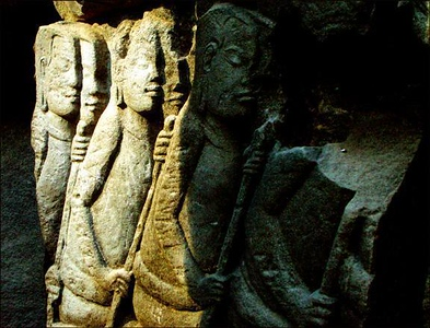Warriors on the wall, Angkor, Cambodia - Angkor's temples are covered with wall carvings depicting the triumphs of the Kings who once ruled there. I looked for a carving that offered great contrast in light, and I under exposed the shot to make the most of that contrast.