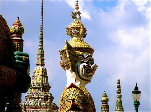 Grand Palace, Bangkok, Thailand - The 2X telephoto adapter was important here as well. It allowed me to reach up and make the statues and spires fill the frame.