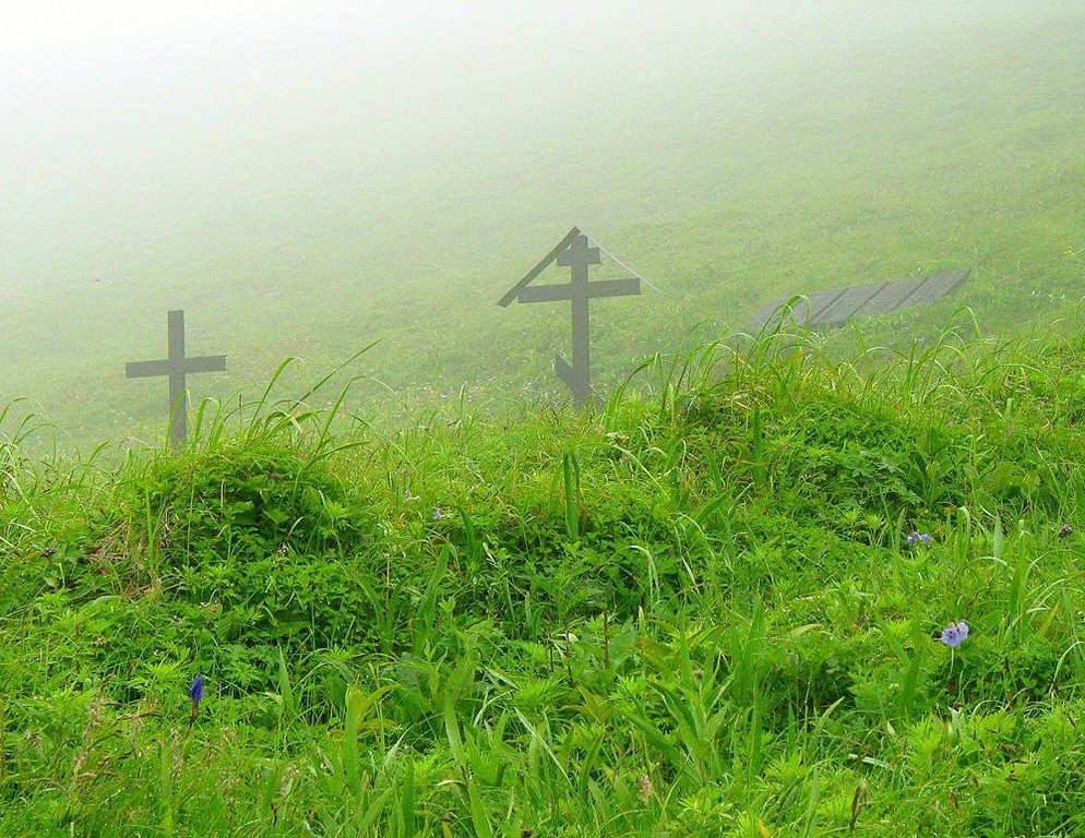 Graves in the fog: Bering Island - In 1741, Vitus Bering, after being first to explore what is now the Bering Sea, was shipwrecked on the island now named in his memory. He, and some of his crew, died here of scurvy. Surviving members of his expedition buried their commander and shipmates on the island, then rebuilt their ship and returned to the mainland to tell their stories and open the Bering Sea to fur traders. We visited their graves in a heavy fog.