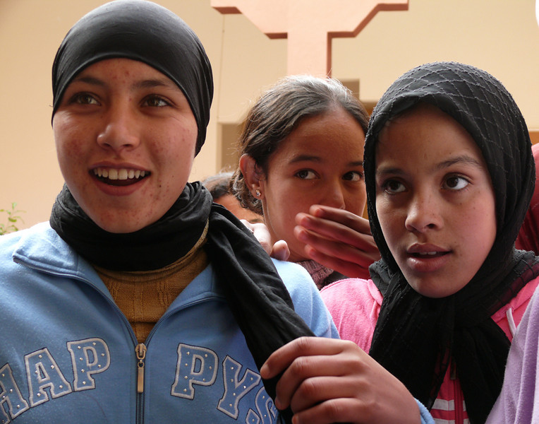 School girls, Tineghir - These girls display a variety of emotions as they greeted us in the lobby of a state-operated boarding institution for worthy students who come from outlying villages.