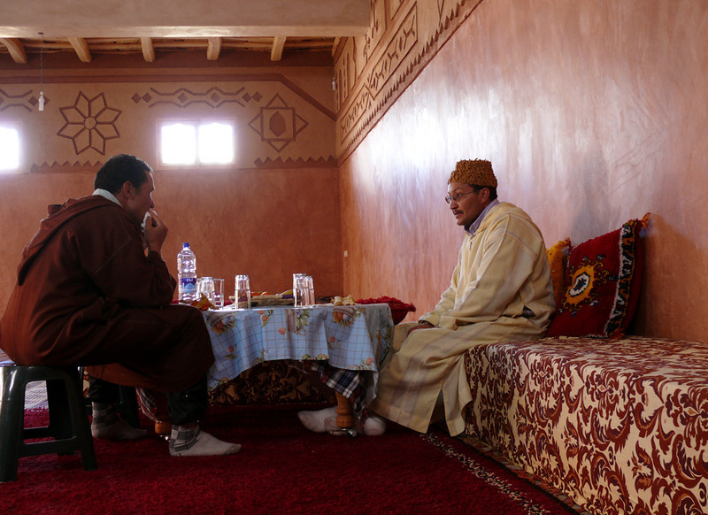 Lunch with the Imam, Khmis Dades - We had lunch in the home of an Imam (right), an Islamic leader of congregational prayer. He later demonstrated an Islamic wedding for us.