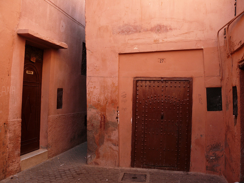 Tilted doors, Marrakesh - Some of the structures in Marrakesh's ancient medina have settled over the years, tilting the frames surrounding the doors.