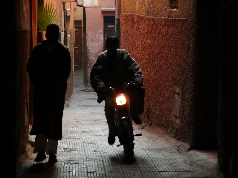 The threat, Marrakesh - Marrakesh is a safe city for visitors. But they must be ever watchful of the motor bikes that can come roaring out of a sidestreet within an eyeblink. Now and then, pedestrians must make way for carts, horses, and donkeys as well. Crossing major streets is also an adventure. There are very few lights, and always heavy traffic.