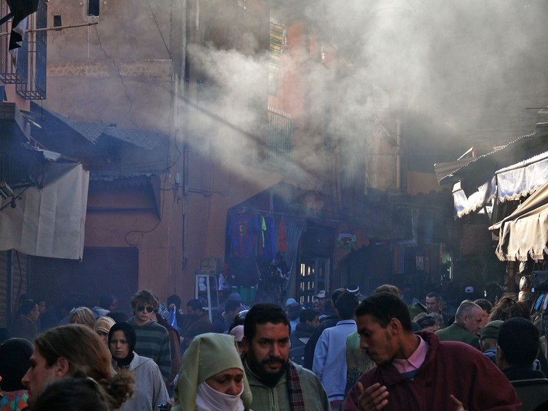 Smoky souk, Marrakesh - There is often something cooking in the souks. The air is filled with smoke and the smells are enticing.