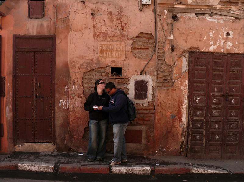 Lost in Marrakesh. - It is very easy to lose yourself in Marrakesh. The streets are usually not marked, and if they are, the signs are in Arabic. Maps are useless. Most of the smaller streets in its vast medina are not shown on them. These tourists may never find what they are looking for. But chances are they will find something else that is just as fascinating.
