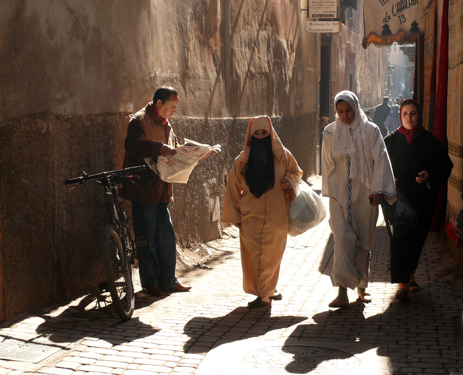 In the medina of Marrakesh - The medieval streets in Marrakesh's medina are hardly wide enogh for four people to walk by side. The cobblestones are uneven and the air is heavy with smoke and smells and sounds. Marrakesh manages to provoke every sense.