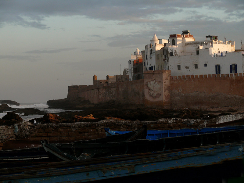 "Ramparts at dawn, Essaouira - The old walled Moroccan city of Essaouira still retains its 18th century character. Orson Welles filmed ""Othello"" on these walls in 1949."