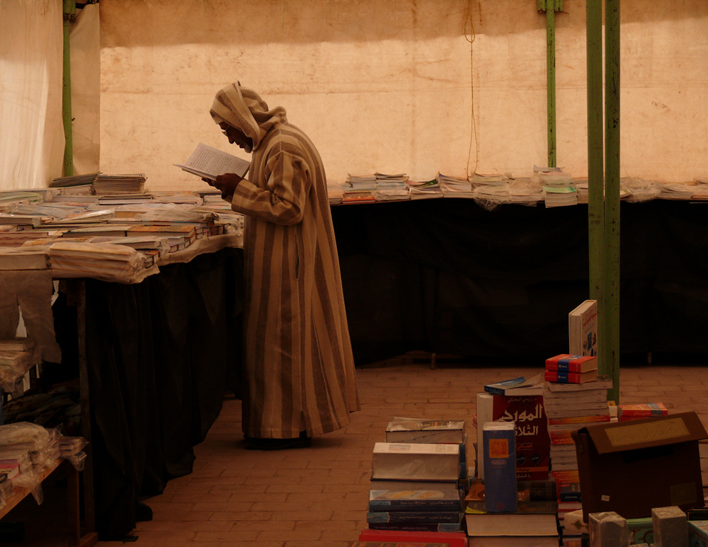 Bookstore, Tineghir - Stores come and go quickly in this lively town -- some, such as this book store housed in a tent, are temporary.