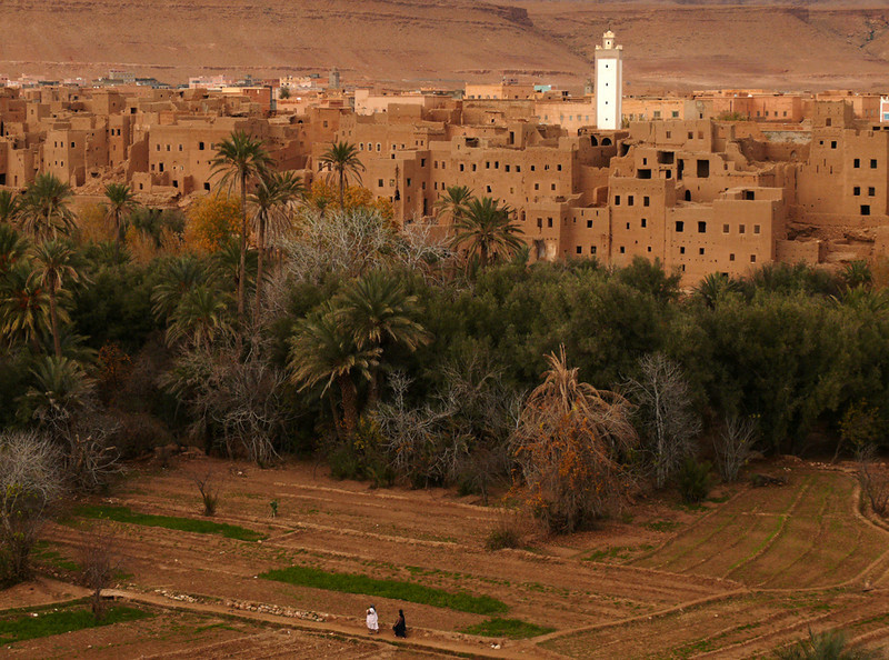 Todra Palm Grove, Tineghir - 14th century buildings, now uninhabited, line this palm grove and the irrigated fields along side of it. The fading light contrasts the distant minaret with robed figures working in the fields.