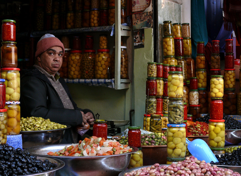Pickled foods, Marrakesh - Olives, pickles and other Moroccan delicacies can be found at this and many other market stalls in Marrakesh.