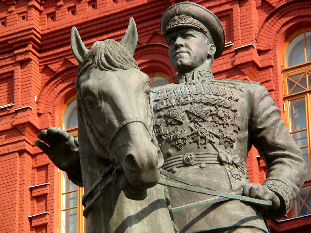 Salute to a hero - Georgiy Zhukov, who led Russia's assault on Germany in World War II is commemorated in bronze near Moscow's Red Square. This statue was unveiled 50 years after Zhukov, riding a white horse, led a massive parade of triumphant Soviet troops through these same streets.