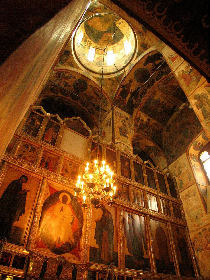 The most important church in Moscow - The spiritual heart of the Kremlin is the 14th Century Cathedral of the Assumption. Here Czars were crowned and patriarchs of Orthodox Church buried. The walls are covered by frescoes painted on gilded panels.