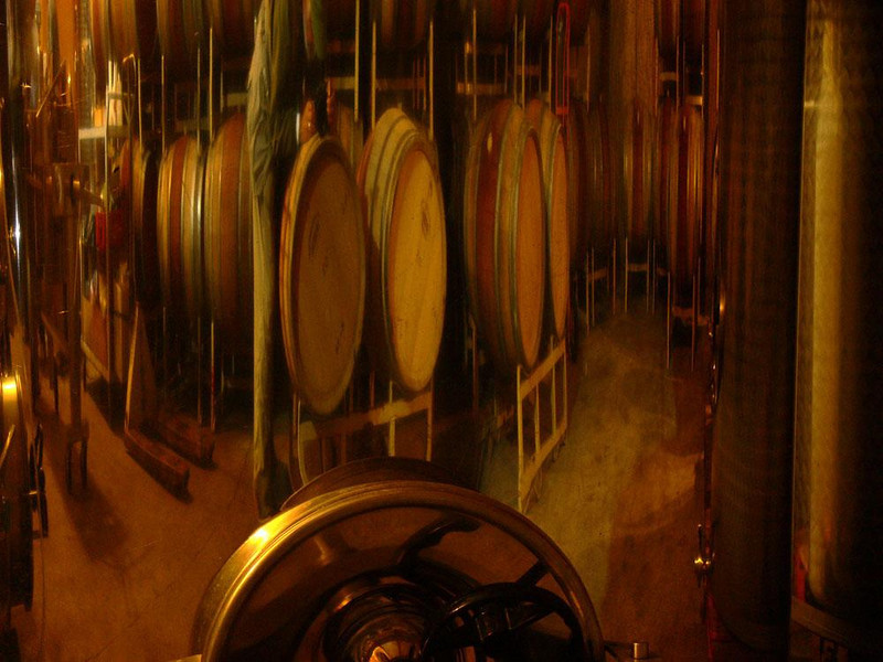 Wine casks, Roseburg - I made this image of the Girardet wine casks with the help of a reflection in a piece of winemaking machinery. (I can barely make out the very slim photographer just to the left of center.)
