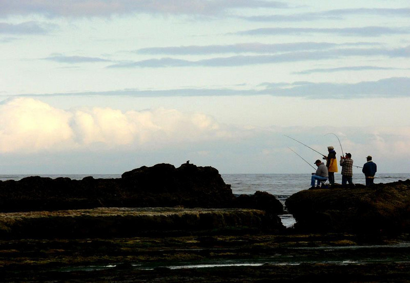 Fishing near Otter Crest - The low tide makes good fishing spots accessible -- these fishermen seemed to be catching mostly perch.