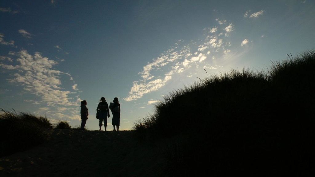 Evening chat, Oregon Dunes - The Oregon Dunes National Recreation Area extends from Florence to Coos Bay. This group had stopped to talk at the crest of a sand dune, giving me a perfectly backlghted shot.