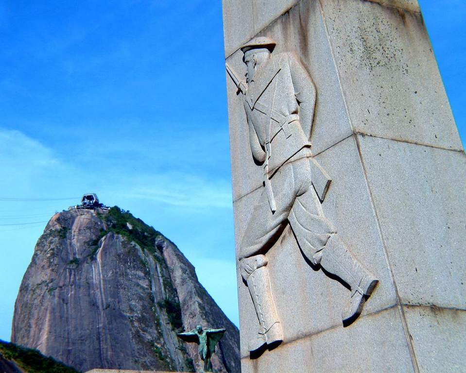 Brazil remembers its heroes - Monuments dedicated to the memory of Brazilian soldiers and sailors who died in various wars are found throughout Rio. Here are two of them, in the shadow of Sugar Loaf mountain.