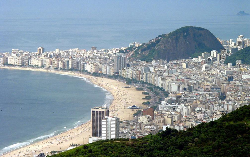 Rio's Copacabana beach, from Sugar Loaf - Rio de Janeiro, with nearly six million residents, is held at bay by famed Copacabana beach, seen here from the top of Sugar Loaf. Rio is Brazil's second largest city. (Sao Paulo, just down the coast, is nearly twice its size.)