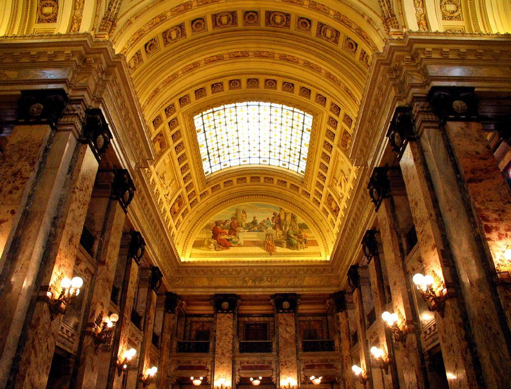 Inside Uruguay's Congress Building - Uruguay is a tiny country squeezed between the two giants of South America, Brazil and Argentina, yet it boasts this soaring Congress Building in Montevideo. Uruguay is governed from these marble halls -- its politics are believed to be less corrupt than elsewhere in Latin America.