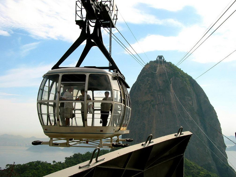 Cable Car at Sugar Loaf Mountain - A cable car offers a sweeping view of Rio, as it carries visitors to and from the summit of Sugar Loaf Mountain.