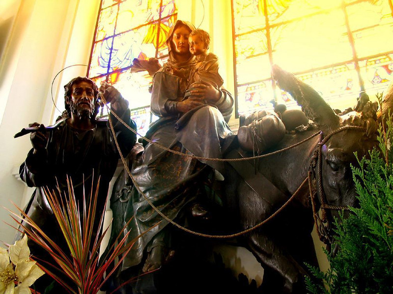 As big as life - Life sized biblical figures carved out of wood stand before sunstruck windows in the Florianopolis Cathedral.