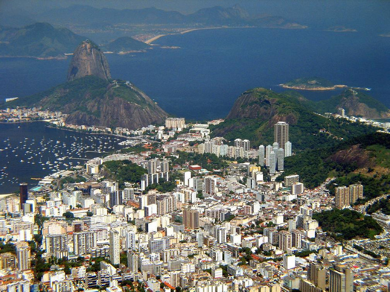 Sugar Loaf, from Corcovado - As I photographed this view of Rio from the summit of Corcovado, I felt as if I were in a plane flying high over the soaring towers of the city towards the massive flank of Sugar Loaf in the distance.