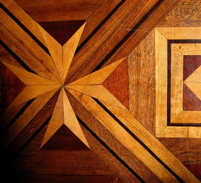 Parquet pattern, Florianopolis - The Governor's Palace in Florianopolis has many elegantly patterned parquet floors. Visitors must wear slippers to walk on them.