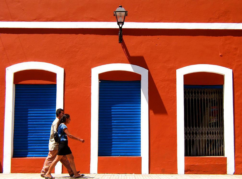 Colors of Florianopolis - A brilliant sunny afternoon illuminates a colorful facade in old Florianopolis.