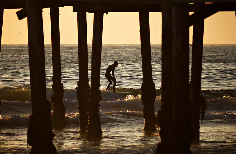 Surfing the Crystal Pier, Pacific Beach