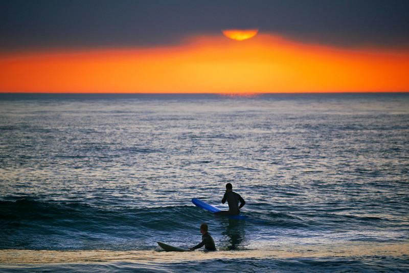 Under a setting sun, Mission Beach