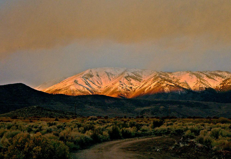 Sierra Snows, near Conway Summit - Early fall snow coats the tops of the Sierra Nevada Mountains at dawn.