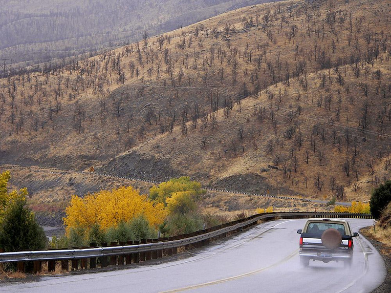 Wet Curve, California-Nevada Border - A rainy fall day in the Eastern Sierras provides spectacular views of a rugged, yet beautiful, landscape.