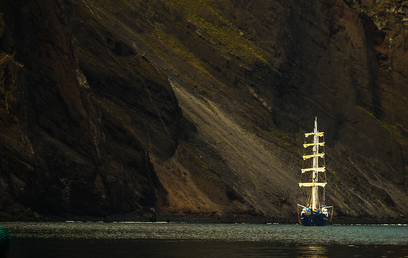 Tall ship at Vincente Roca, Isabela Island, The Galapagos