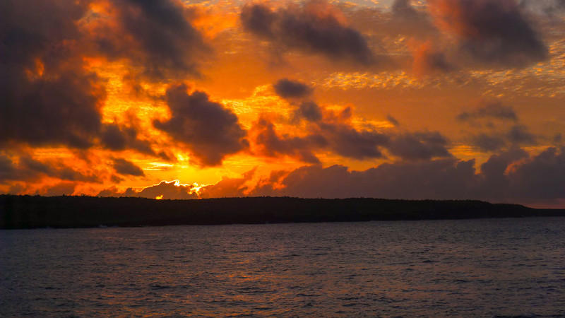 Sunrise off Puerto Ayora, Santa Cruz Island, The Galapagos