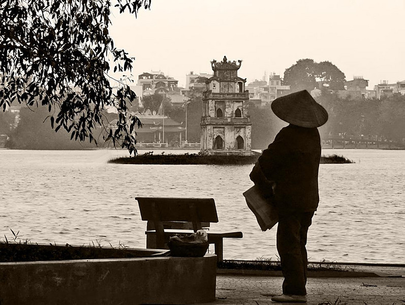 Today become yesterday, Hanoi - This black and white image of Hanoi's Hoan Kiem Lake, and its famous 150 year old Turtle Tower, offers a timeless impression of Vietnam.