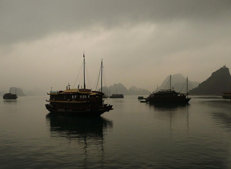 Dawn, Halong Bay - We spent one night on a junk such as these, seen at dawn in a heavy mist. December visitors to Halong Bay rarely see a glimpse of sun.
