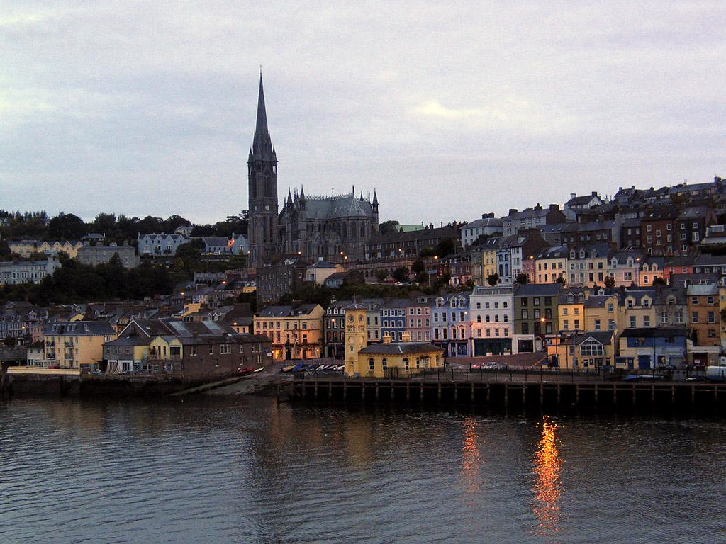 Dawn in Cobh - Cobh is the port for Cork, Ireland's second largest city, 15 miles away. Known as Queenstown until 1922, Cobh is dominated by the 19th Century St. Colman's Cathedral, seen here at the break of dawn.